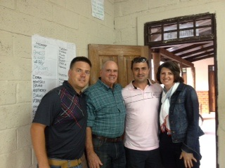 Shane (Zambian director for Lifesong Garneton school), Dr. Bob Waite, Dennis and Yasna